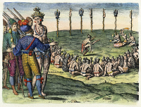 0007862 © Granger - Historical Picture ArchiveFLORIDA: NATIVE AMERICANS, 1591.   Florida Native Americans holding a triumphant and solemn ritual in celebration of the defeat of an enemy. Color engraving, 1591, by Theodor de Bry after Jacques Le Moyne de Morgues.