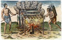 0009307 © Granger - Historical Picture ArchiveNATIVE AMERICANS: BARBECUE, 1590.   Native Americans broiling fish on a barbecue. Line engraving, 1590, by Theodor de Bry after John White.