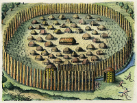 0009819 © Granger - Historical Picture ArchiveFLORIDA NATIVE AMERICAN VILLAGE, 1591.   Copper engraving by Theodor de Bry after Jacques Le Moyne de Morgues, 1591.