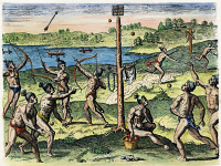 0009820 © Granger - Historical Picture ArchiveFLORIDA NATIVES: SPORTS, 1591.  Native Americans playing a game with balls and arrows. Colored engraving by Theodor de Bry after a lost drawing by Jacques Le Moyne de Morgues, 1591.