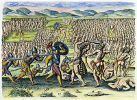0009821 © Granger - Historical Picture ArchiveNATIVE AMERICANS: FLORIDA BATTLE.   Florida Native Americans fighting each other and European soldiers involved. Copper engraving, 1591, by Theodor de Bry after Jacques Le Moyne de Morgues.