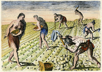 0010581 © Granger - Historical Picture ArchiveFLORIDA NATIVES, 1591.   Florida Native Americans tilling and planting. Line engraving, 1591, by Theodor de Bry after a now lost drawing by Jacques Le Moyne de Morgues.