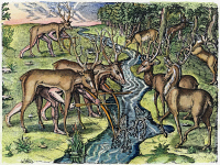 0010582 © Granger - Historical Picture ArchiveFLORIDA NATIVE AMERICANS: HUNT, 1591.   Florida Native Americans hunting deer, having first disguised themselves with the heads and skins of deer. Colored engraving, 1591, by Theodor de Bry after a now lost drawing by Jacques Le Moyne de Morgues.