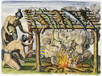 0010583 © Granger - Historical Picture ArchiveNATIVE AMERICANS: BARBECUE.   Florida Native Americans curing fish and game on a barbecue. Colored engraving, 1591, by Theodor de Bry after a now lost drawing by Jacques Le Moyne de Morgues.