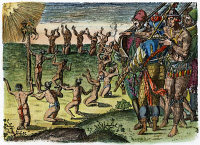 0010718 © Granger - Historical Picture ArchiveNATIVE AMERICAN CEREMONY, 1591.  Florida Native Americans consecrating the skin of a stag to the sun, while French soldiers (right) observe the ceremony. Line engraving by Theodor de Bry, 1591, after a drawing by Jacques Le Moyne de Morgues, 1564-65.