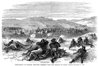 0034455 © Granger - Historical Picture ArchiveBEECHER ISLAND, 1868.   The attack of fifty U.S. troops by several hundred Cheyenne, Sioux, and Arapaho warriors at the Battle of Beecher Island, in the dry bed of the Arikaree River in the Colorado Territory, 17 September 1868. Contemporary American wood engraving.