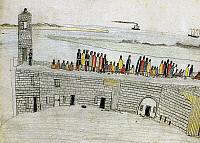 0054691 © Granger - Historical Picture ArchiveNATIVE AMERICANS: PRISON, 1875.   72 Plains Native Americans, participants in the Red River War, jailed in Fort Marion, Florida, are taken to the parapet of the fort to see the Atlantic Ocean. Contemporary drawing by a Kiowa prisoner.