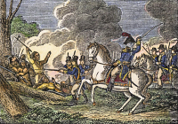 0066525 © Granger - Historical Picture ArchiveFALLEN TIMBERS BATTLE.   General Anthony Wayne's attack on the Native Americans at Fallen Timbers on the banks of the Maumee River, Ohio, 20 August 1794. Wood engraving, American, 1848.
