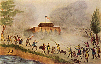 0066590 © Granger - Historical Picture ArchiveFLORIDA: SEMINOLE WAR 1837.   A Seminole Native American attack on a fort during the Seminole War in Florida. Lithograph, American, 1837.