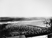 0120548 © Granger - Historical Picture ArchiveSIOUX UPRISING, 1862.   Sioux prison camp on the Minnesota River near Fort Snelling, Minnesota, following the Sioux Uprising of 1862. Photographed by Benjamin Franklin Upton, c1862.
