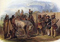 0066386 © Granger - Historical Picture ArchiveGERMAN PRINCE & MINATERRE.   The Swiss artist, Karl Bodmer (at far right), and Prince Maximilian of Wied (in green coat), being introduced to Minatarre (Hidatsa) Native Americans near Fort Clark on the Missouri River in 1833 by an interpreter (with red sash about his waist) presumed to be Toussaint Charbonneau, the French Canadian husband of Sacagawea.