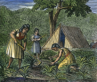 0040920 © Granger - Historical Picture ArchiveNATIVE AMERICAN WOMEN: FARMING, 1835.   Native American Indian women engaged in agricultural tasks. Wood engraving, c1835.