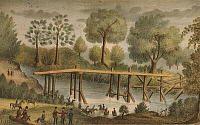 0259133 © Granger - Historical Picture ArchiveSEMINOLE WARS, 1835.   'Arrival of the South Carolina Dragoons at the Withlacooche.' Arrival of South Carolina soldiers at the Withlacoochee River, Florida, during the Second Seminole War. Hand-colored lithograph, 1837.