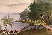 0259134 © Granger - Historical Picture ArchiveSEMINOLE WARS, 1835.   'Troops Fording Lake Ocklawaha.' American troops crossing Lake Ocklawaha, Florida, during the Second Seminole War. Hand-colored lithograph, 1837.