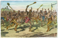 0007835 © Granger - Historical Picture ArchiveIROQUOIS: LACROSSE.   Iroquois Native Americans playing lacrosse in preparation for battle. Drawing by C.W. Jefferys.