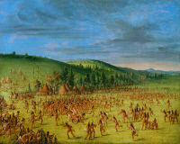 0102838 © Granger - Historical Picture ArchiveNATIVE AMERICANS: BALL GAME, 1840s.   'Ball play of the Choctaw.' Oil on canvas by George Catlin, c1846-50.