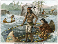 0009308 © Granger - Historical Picture ArchiveNATIVE AMERICANS/FISHING.   Native Americans of the Pacific Northwest catching whitefish in the rapids of the Columbia River, Washington Territory. Wood engraving, 1871.