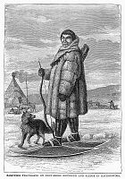 0035605 © Granger - Historical Picture ArchiveESKIMO HUNTER AND DOG.   An Eskimo going hunting with his dog and bow and arrows. Wood engraving, late 19th century.