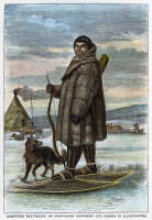 0036953 © Granger - Historical Picture ArchiveESKIMO HUNTER AND DOG.   An Eskimo going hunting with his dog and bow and arrows. Wood engraving, late 19th century.