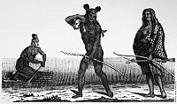 0129332 © Granger - Historical Picture ArchiveCALIFORNIA NATIVES, 18TH CENTURY.  Coastal California Native Americans of the Diegueño tribe (near present day San Diego). Line engraving, 18th century.