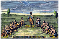 0029664 © Granger - Historical Picture ArchiveFIVE NATIONS: MEETING.   Iroquois leaders from the Five Nations (Cayuga, Mohawk, Oneida, Onondaga, and Seneca) assembled around the Huron prophet Deganawidah, center, to recite the laws of the new Iroquois League, c1570. French engraving, 1724.