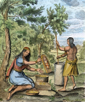 0053768 © Granger - Historical Picture ArchiveIROQUOIS WOMEN, 1664.   While a papoose naps on its board, Iroquois women grind corn or dried berries. Copper engraving, French, 1664.