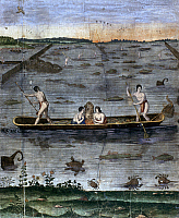 0103281 © Granger - Historical Picture ArchiveALGONQUIAN: FISHING, c1585.   Carolina Algonquian Native Americans fishing. Copper engraving by Theodor de Bry, after John White, 1590.
