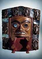 0025442 © Granger - Historical Picture ArchiveTSIMSHIAN ART.   Tsimshian painted wood and abalone frontlet from British Columbia, Canada.