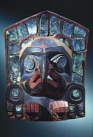 0025463 © Granger - Historical Picture ArchiveNORTHWESTERN NATIVE AMERICAN ART.   Kwakiutl painted wood and abalone Thunderbird Frontlet from British Columbia, Canada.
