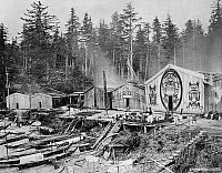 0173524 © Granger - Historical Picture ArchiveKWAKIUTL VILLAGE, 1881.   A view of the Nahwitti (Kwakiutl) village of Xwamdasbe on Hope Island, off the northeast coast of Vancouver Island, British Columbia, Canada, showing houses with painted family crests. Photographed by Edward Dossetter, 1881.