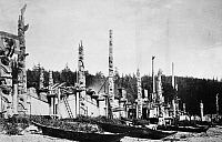 0173526 © Granger - Historical Picture ArchiveHAIDA VILLAGE, 1878.   Totem poles and canoes in the Haida village of Skidegate in the Queen Charlotte Islands, off the coast of British Columbia, Canada. Photographed by George M. Dawson, 1878.