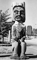 0174593 © Granger - Historical Picture ArchiveCANADA: HOUSE POST.   Kwakiutl house post from Koskimo on Vancouver Island, British Columbia, Canada, carved from cedar by George Nelson in 1906. Photographed on the grounds of the Museum of Anthropology at the University of British Columbia, Vancouver, 1958.