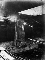 0174595 © Granger - Historical Picture ArchiveCANADA: HOUSE POST.   Post carved from cedar inside a Heiltsuk house at Bella Bella, on the coast of British Columbia, Canada. Photographed c1905.