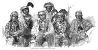 0038722 © Granger - Historical Picture ArchiveCHIEF BILLY BOWLEGS.   Bowlegs (born 1810),second from right, with his Seminole delegation and their African American interpreter, Abraham (center rear), in New York City, 1853. Contemporary engraving.