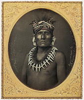 0039392 © Granger - Historical Picture ArchiveNATIVE AMERICANS: KNO-SHR, 1853.   A Kansas chief. Daguerreotype, 1853, by John H. Fitzgibbon.