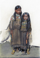 0074657 © Granger - Historical Picture ArchiveCOMANCHE GIRLS, 1892.   The girl on the left is the daughter of Quanah Parker. Oil over a photograph, 1892.