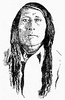 0079481 © Granger - Historical Picture ArchivePOUNDMAKER (c1842-1886).   Canadian Cree chief. Line drawing by Charles W. Jefferys, after a photograph of c1885.
