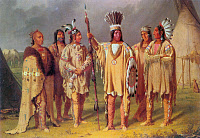 0095690 © Granger - Historical Picture ArchiveBLACKFOOT CHIEFS, c1848.   The Blackfoot chief Big Snake (center) with five subordinate chiefs on the Canadian prairies, c1848. Oil on canvas, 1851-56, by Paul Kane.