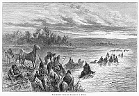 0095700 © Granger - Historical Picture ArchiveNATIVE AMERICANS: BLACKFEET, c1860.   Blackfeet Native Americans crossing a river in the American West. Line engraving, 19th century.