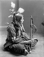 0115755 © Granger - Historical Picture ArchiveSIOUX NATIVE AMERICAN, c1900.   William Frog, Sioux Native American, probably from Buffalo Bill's Wild West Show. Photographed by Gertrude Käsebier, c1900.