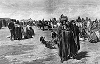 0174662 © Granger - Historical Picture ArchiveSIOUX RATION DAY, 1883.   Sioux Native Americans on ration day at the Standing Rock Agency, Dakota Territory, 1883. Contemporary wood engraving after Henry F. Farny.