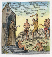 0007675 © Granger - Historical Picture ArchiveSPANISH CRUELTY, 1600.   A Spaniard flogging native Indians for failing to attend church. Illustration by Samuel de Champlain for his Voyage to the West Indies and Mexico, c1600.