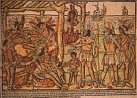 0035778 © Granger - Historical Picture ArchiveBRAZIL: TUPINAMBAS, 1505.   The earliest European picture of native Indians with some ethnographic accuracy. The Tupinambas of coastal Brazil at a cannibal feast. Woodcut, German, 1505.