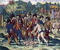 0162835 © Granger - Historical Picture ArchiveDE BRY: SPANISH CONQUEST.   Native Americans delivering treasure to European explorers. Color copper line engraving by Theodore de Bry, c1591.