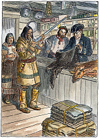 0007437 © Granger - Historical Picture ArchiveFRONTIER TRADING POST, 1785.   A Native American trading fur for guns at a frontier trading post, 1785. Drawing by C.W. Jefferys.