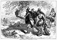 0042758 © Granger - Historical Picture ArchiveDUTCH FUR TRADE.   Native Americans bringing pelts to Dutch traders in the 17th century. Wood engraving, American, 19th century.