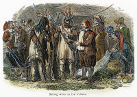 0061919 © Granger - Historical Picture ArchiveDUTCH TRADING WITH NATIVE AMERICANS, 19TH CENTURY  Dutch colonists trading with the Native Americans of New Netherland (later New York) in the 17th century. Color engraving, 19th century.