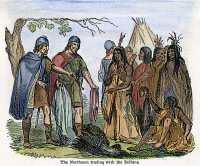 0064821 © Granger - Historical Picture ArchiveNORSEMEN AND NATIVE AMERICANS, 1846.  Norsemen trading with Native Americans on the east cost of North America in the early 11th century A.D. Wood engraving, American, 1846.