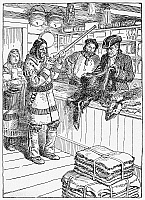 0097141 © Granger - Historical Picture ArchiveFRONTIER TRADING POST, 1785.   A Native American trading fur for guns at a frontier trading post, 1785. Drawing by C.W. Jefferys.