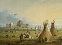 0172734 © Granger - Historical Picture ArchiveSIOUX AT FORT LARAMIE, 1837.   Exterior view of the trading post at Fort William, near the eventual site of Fort Laramie, Wyoming, as it appeared in 1837, with an Oglala Sioux encampment shown in the foreground. Watercolor, c1840, by Alfred Jacob Miller.
